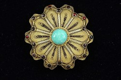 Bezalel Filigree Israeli 925 Sterling Silver and Eilat Stone Brooch Pin Pendant
