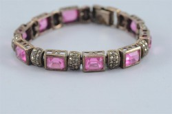Artisan 925 Sterling Silver Link Bracelet with Pink Rose Quartz