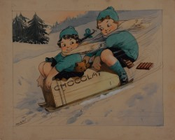 Original Maquette Advertising  Chocolate by Albert Dorfinant (1881-1976) - Dorfi