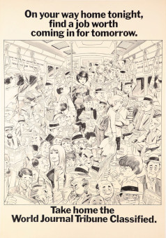 Original Vintage Poster Advertising World Journal Tribune by Wally Wood 1967