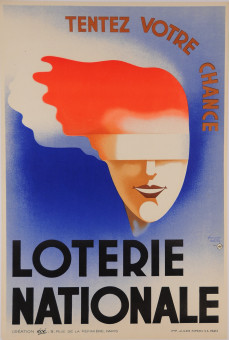 Original Vintage Loterie Nationale Art Déco Poster