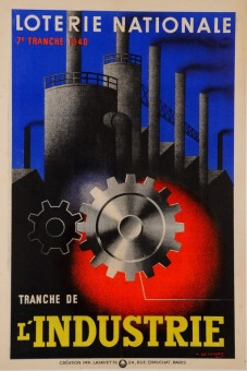 Original Vintage Loterie Nationale Poster Art deco l'INDUSTRIE 1940 by Besniard