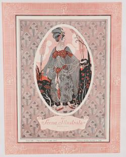 "Original Vintage Art Nouveau Print Italian Magazine ""Scena Illustrata"""