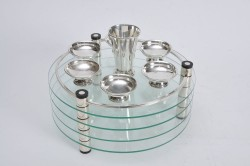 Modern Silver and Glass Passover Plate by Ludwig Wolpert