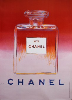 Original Vintage French Poster for Chanel 5 by Andy Warhol - Red/Pink  RARE !