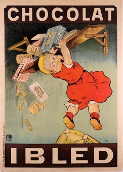 Original Vintage French Children Chocolate Poster for