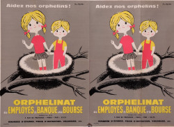 Original Vintage French Double Page Poster for Orphelinat by Fix Masseau