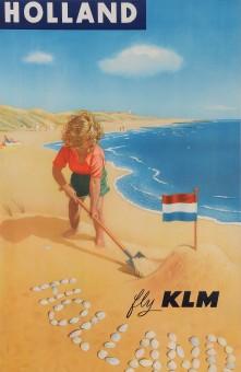 Original Vintage French Poster Advertising HOLLAND Fly KLM