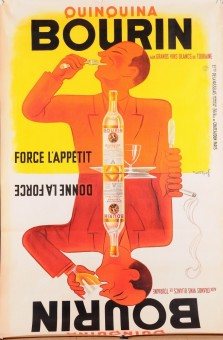 Original Vintage Poster for BOURIN QUINQUINA BY BELLENGER  FOR WHITE WINE LINEN