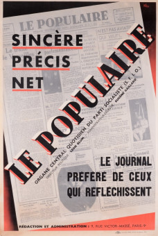 Original Vintage French Poster for Sincere, Precis, Net: Le Populaire, 1938  color lithographic print on color paper
